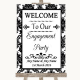 Black & White Damask Welcome To Our Engagement Party Customised Wedding Sign