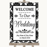 Black & White Damask Welcome To Our Wedding Customised Wedding Sign
