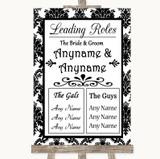 Black & White Damask Who's Who Leading Roles Customised Wedding Sign