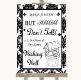 Black & White Damask Wishing Well Message Customised Wedding Sign