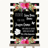 Black & White Stripes Pink Jenga Guest Book Customised Wedding Sign
