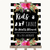 Black & White Stripes Pink Kids Table Customised Wedding Sign