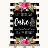 Black & White Stripes Pink Let Them Eat Cake Customised Wedding Sign