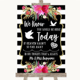 Black & White Stripes Pink Loved Ones In Heaven Customised Wedding Sign