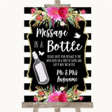 Black & White Stripes Pink Message In A Bottle Customised Wedding Sign