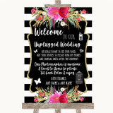Black & White Stripes Pink No Phone Camera Unplugged Customised Wedding Sign