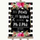 Black & White Stripes Pink Petals Wishes Confetti Customised Wedding Sign