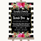 Black & White Stripes Pink Photo Guestbook Friends & Family Wedding Sign