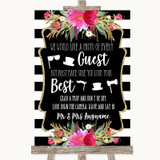 Black & White Stripes Pink Photo Prop Guestbook Customised Wedding Sign