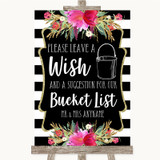 Black & White Stripes Pink Bucket List Customised Wedding Sign
