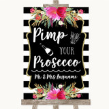 Black & White Stripes Pink Pimp Your Prosecco Customised Wedding Sign