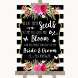 Black & White Stripes Pink Plant Seeds Favours Customised Wedding Sign