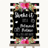 Black & White Stripes Pink Polaroid Picture Customised Wedding Sign