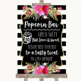 Black & White Stripes Pink Popcorn Bar Customised Wedding Sign