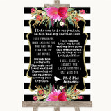 Black & White Stripes Pink Romantic Vows Customised Wedding Sign