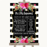 Black & White Stripes Pink Rules Of The Dance Floor Customised Wedding Sign