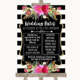 Black & White Stripes Pink Rules Of The Wedding Customised Wedding Sign