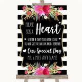 Black & White Stripes Pink Sign a Heart Customised Wedding Sign