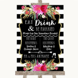 Black & White Stripes Pink Signature Favourite Drinks Customised Wedding Sign