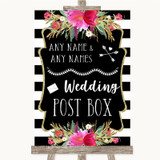 Black & White Stripes Pink Card Post Box Customised Wedding Sign