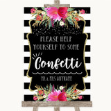 Black & White Stripes Pink Take Some Confetti Customised Wedding Sign