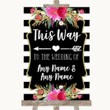 Black & White Stripes Pink This Way Arrow Left Customised Wedding Sign