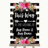 Black & White Stripes Pink This Way Arrow Right Customised Wedding Sign