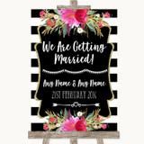 Black & White Stripes Pink We Are Getting Married Customised Wedding Sign