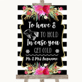 Black & White Stripes Pink Wedding Blanket Scarf Customised Wedding Sign