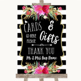 Black & White Stripes Pink Cards & Gifts Table Customised Wedding Sign