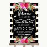 Black & White Stripes Pink Welcome Order Of The Day Customised Wedding Sign