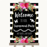 Black & White Stripes Pink Welcome To Our Engagement Party Wedding Sign