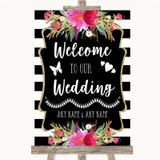 Black & White Stripes Pink Welcome To Our Wedding Customised Wedding Sign