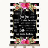 Black & White Stripes Pink When I Tell You I Love You Customised Wedding Sign