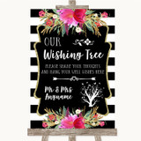 Black & White Stripes Pink Wishing Tree Customised Wedding Sign