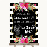 Black & White Stripes Pink Wishing Well Message Customised Wedding Sign