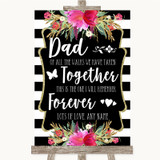 Black & White Stripes Pink Dad Walk Down The Aisle Customised Wedding Sign