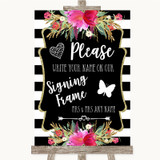 Black & White Stripes Pink Signing Frame Guestbook Customised Wedding Sign