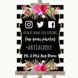 Black & White Stripes Pink Social Media Hashtag Photos Customised Wedding Sign