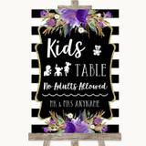 Black & White Stripes Purple Kids Table Customised Wedding Sign