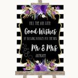 Black & White Stripes Purple Blow Bubbles Customised Wedding Sign