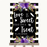 Black White Stripes Purple Love Is Sweet Take A Treat Candy Buffet Wedding Sign