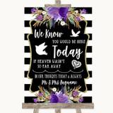 Black & White Stripes Purple Loved Ones In Heaven Customised Wedding Sign