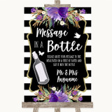 Black & White Stripes Purple Message In A Bottle Customised Wedding Sign