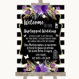 Black & White Stripes Purple No Phone Camera Unplugged Customised Wedding Sign