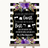 Black & White Stripes Purple Photo Prop Guestbook Customised Wedding Sign