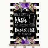 Black & White Stripes Purple Bucket List Customised Wedding Sign