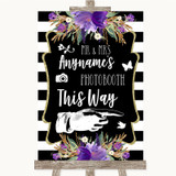 Black & White Stripes Purple Photobooth This Way Right Customised Wedding Sign