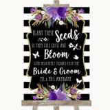 Black & White Stripes Purple Plant Seeds Favours Customised Wedding Sign