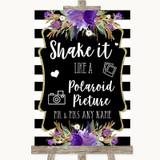 Black & White Stripes Purple Polaroid Picture Customised Wedding Sign